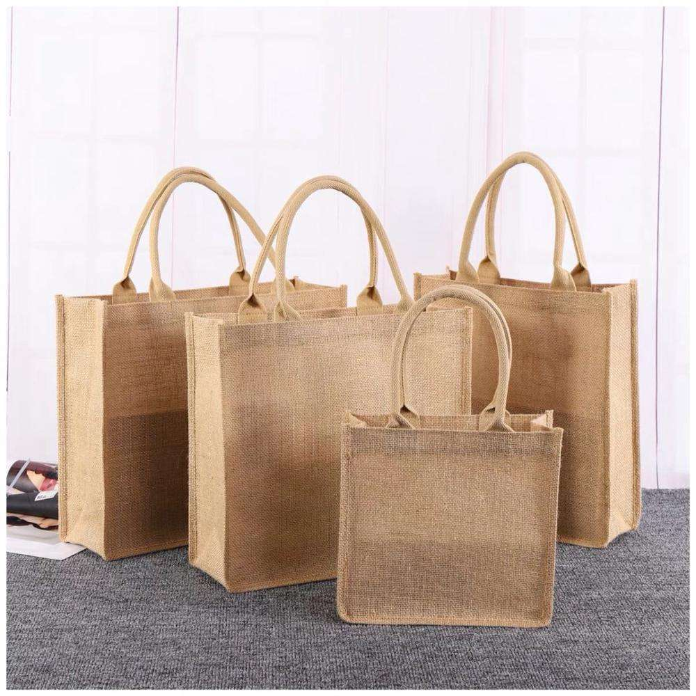 Custom eco friendly laminated burlap reusable grocery linen hessian jute shopping tote bags with custom printed logo