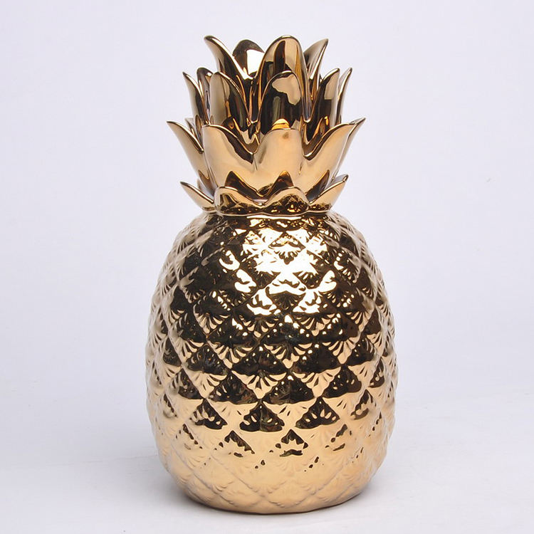 Made in china royal gold plated pineapple ornaments vintage china ceramic home decor