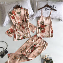 New 3 Pcs  Femme  Pijamas Sets With Pants Pijamas De Mujer Satin Flower Print Nightwear Silk Negligee Women Pyjama