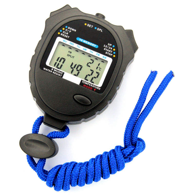 Professional 10 lap memory colorful backlight digital sport stopwatch with temperature lcd display