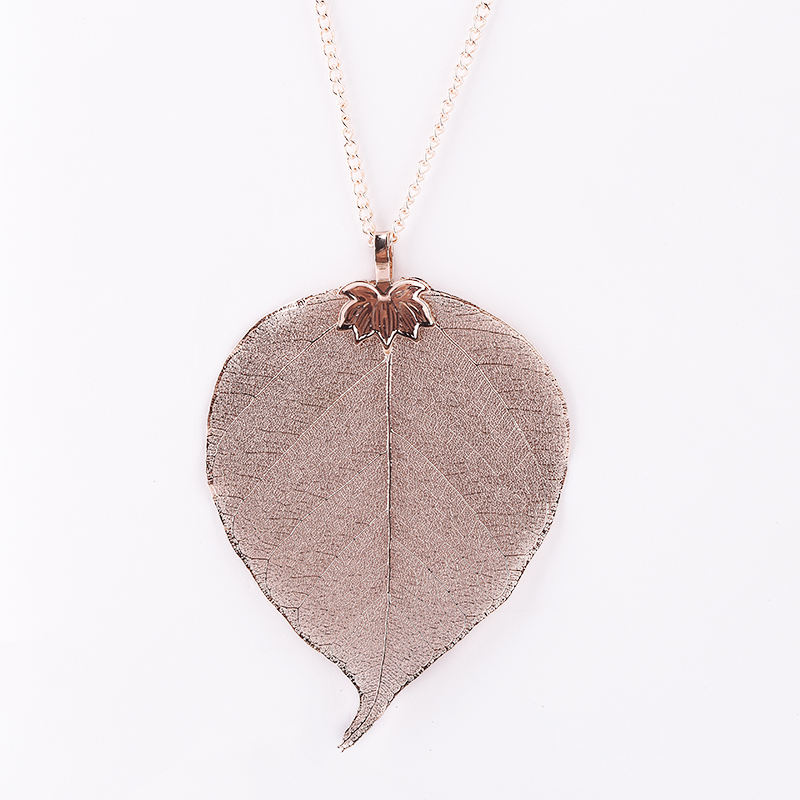 true leaf stylish chain and leather rope necklace choker for lady