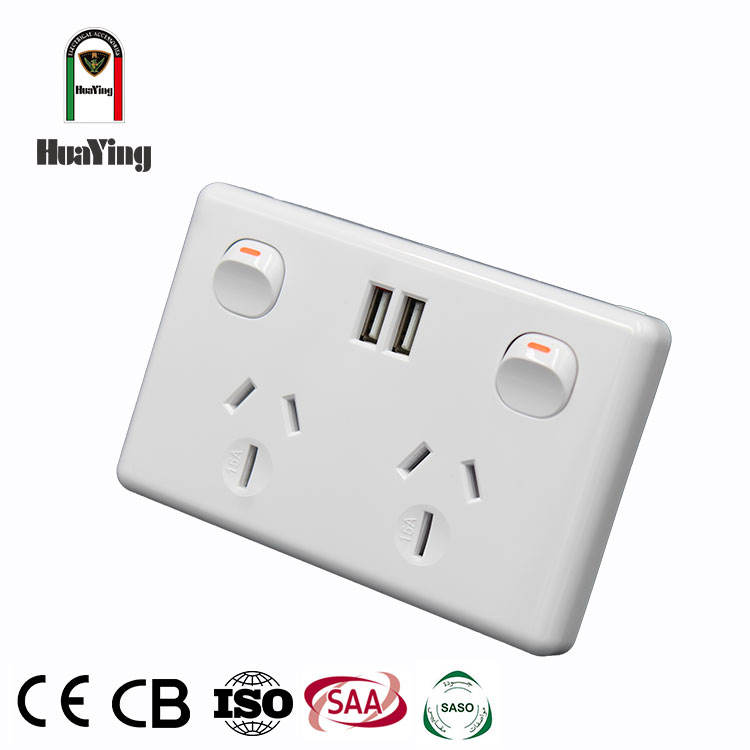Dual usb wall socket สวิตช์ outlet usb 15 amp switched socket