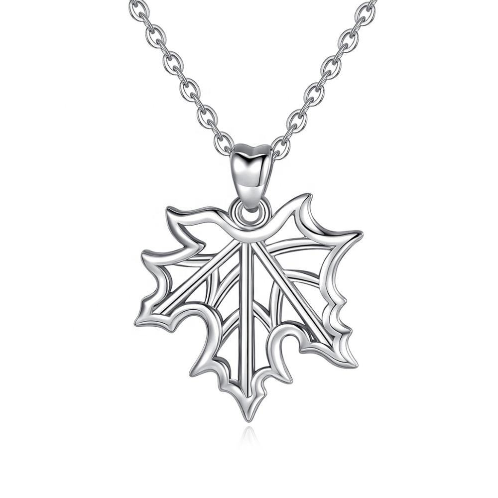 Rhodium plated sieraden hiphop natuur 925 charm sterling silver maple leaf ketting