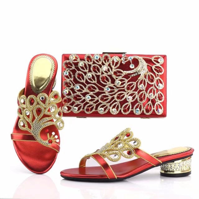 SAB1089-1 red Wedding party italian shoes and bag set african design shoes and bag set to match