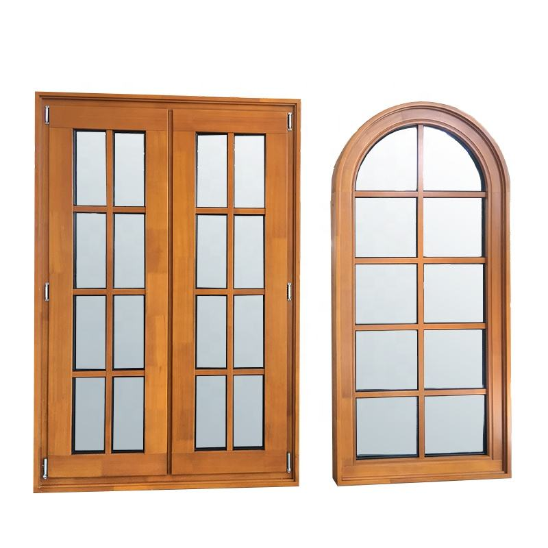 French style fixed wood window with wood window grille design made of teak wood