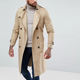 Import clothing from china longline trench coat button placket belted waist trench coat men