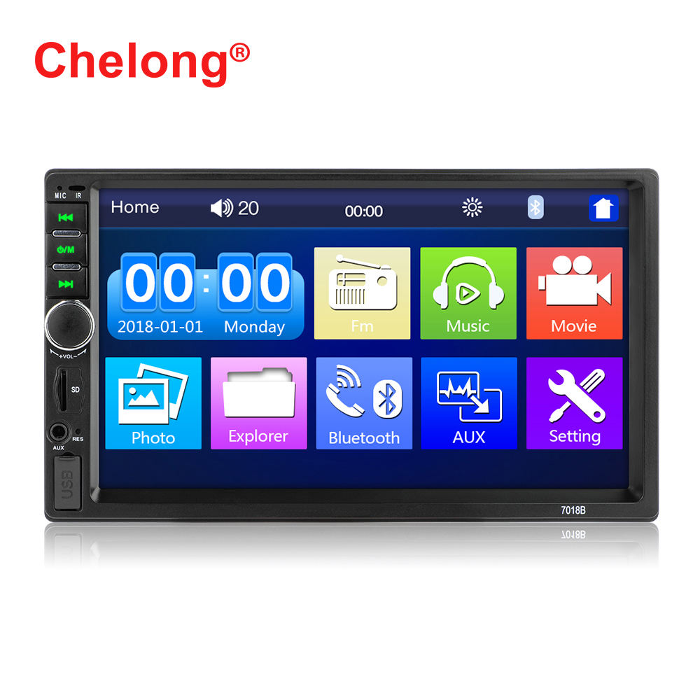 Factory Wholesale 2 Din7 inch Touch Screen Car Radio Stereo Player Support Mirrorlink Bluetooth 1080P FM SD TF AUX
