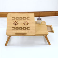 Factory hot sale custom logo eco friendly laptop desk bamboo wooden folding laptop table for bed