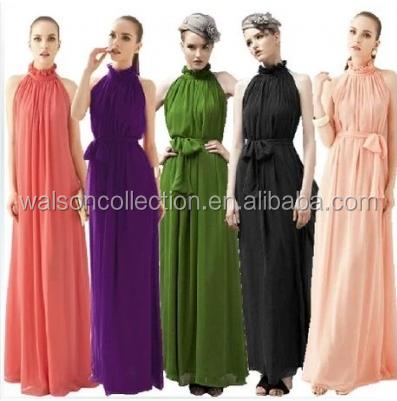 Stock gasa vestido de bola formal del Partido de fiesta largo bridemaid vestidos