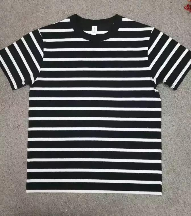 Wholesale bulk striped t-shirt plain blank thick heavy 290gsm stripe 100% cotton short sleeve suede men's t-shirts men t shirt
