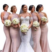 Elegant Dusty Pink Mermaid Custom Bridesmaid Dresses Lace Long Halter Brides Maid Gown Wedding Guest Dress