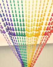 New design beautiful rainbow waterdrop bead door curtain
