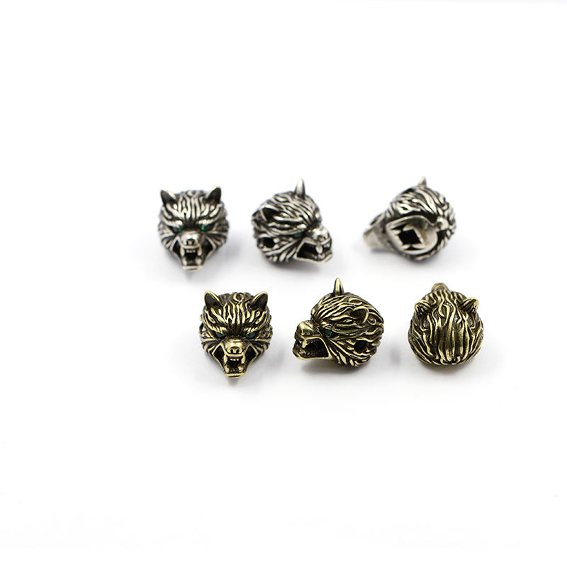 Wolf head brass spacer beads pave CZ ornament charm findings for making bracelet