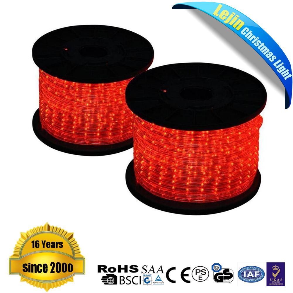 Ce بنفايات ul ip65 100 متر أحمر حبل ضوء للزينة عيد