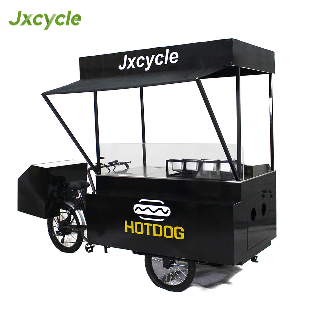 jxcycle enclosed mobile vending hot dog cart grill