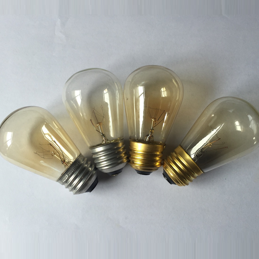 E26 E27 S14 11 Watt Warm Replacement Incandescent Glass Light Bulbs for Indoor and Outdoor Patio Vintage String Lights