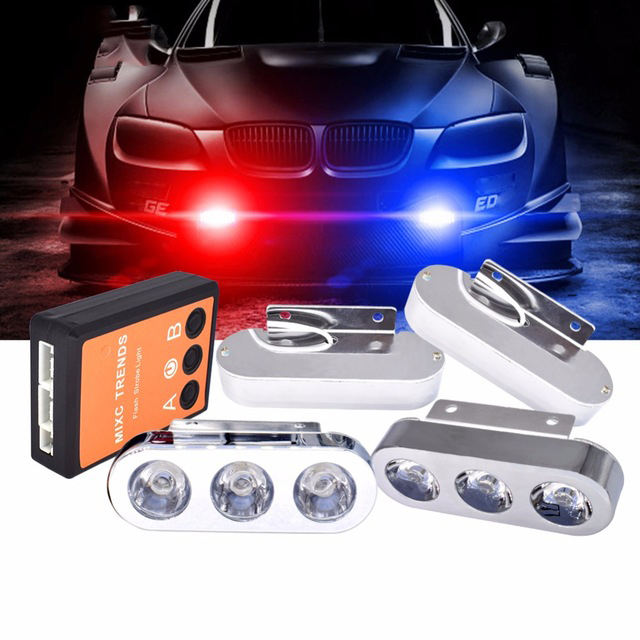 1Set 4X3 LED Police Flashing Light Car Spot LED Strobe Warning Light Lamp 12V High Brightness Chrome Emergency Day Running Light