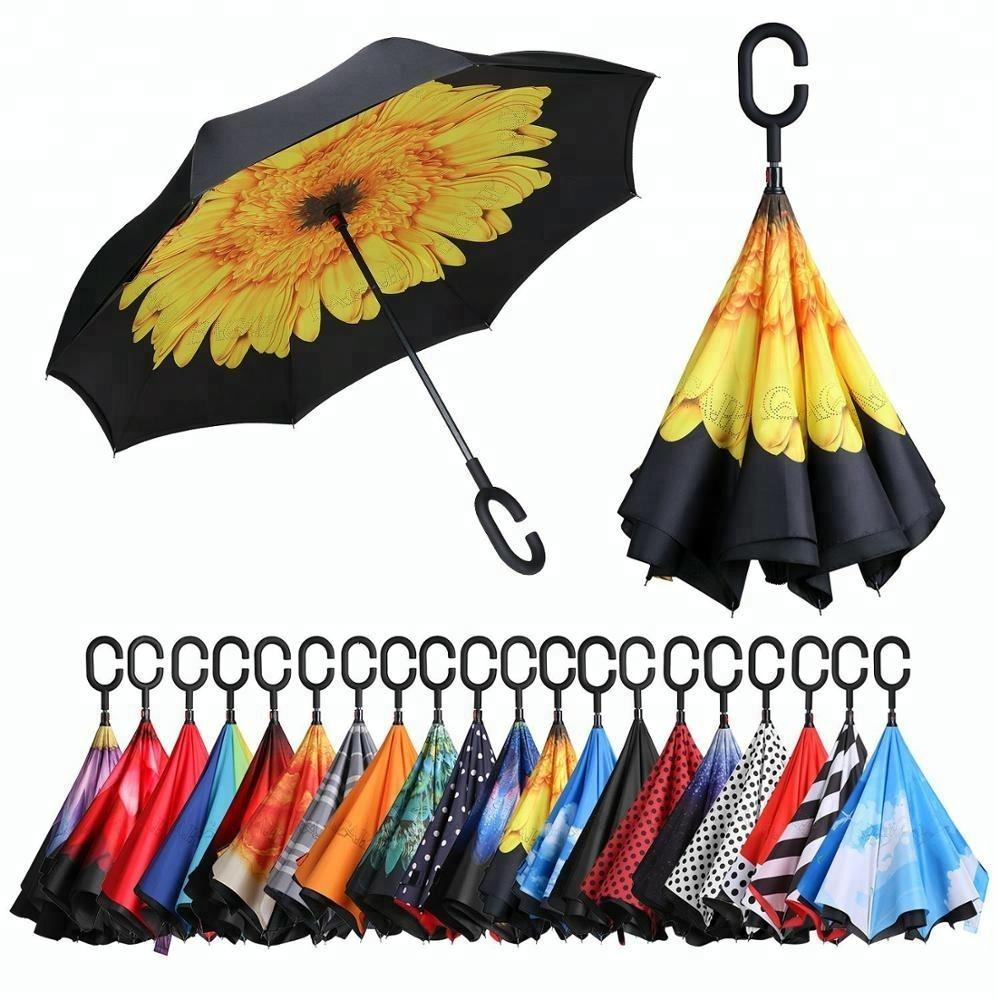 Inside full print double layer auto open close reverse inverted c type handle umbrella for car