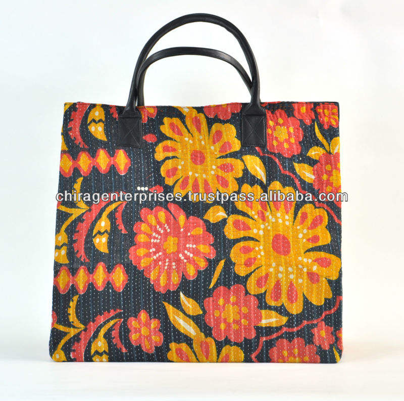 CheckOut~Our Stunning Collection Leather Handle Vintage Kantha houlder Bags Handbags