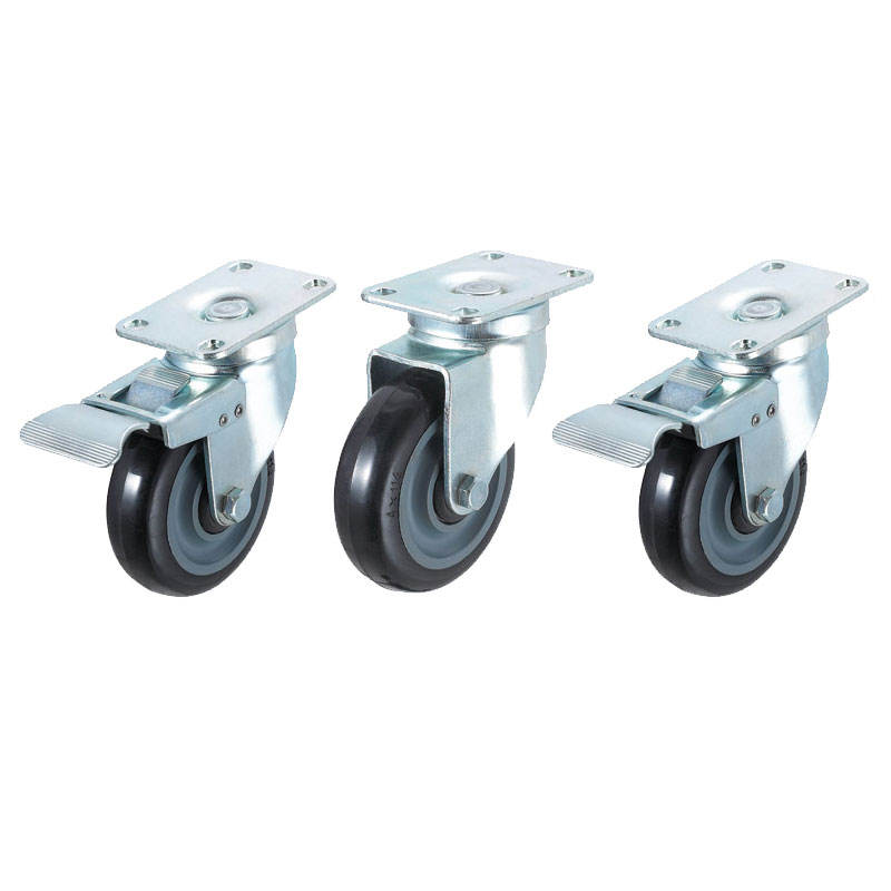 Heavy Duty Automatic Caster with Rubber Black Wheel 100mm / 4""