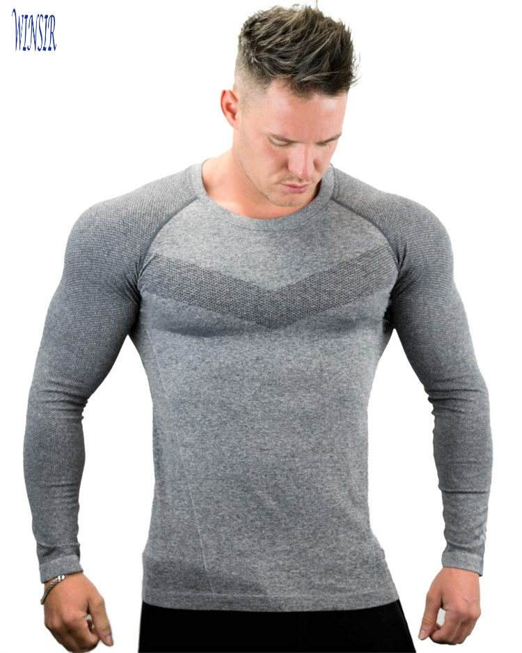 Men Compression And Seamless Ultra Grey Long Sleeve Workout Tee Compression Base Layer Crew Neck Sports Tops Gym T Shirts