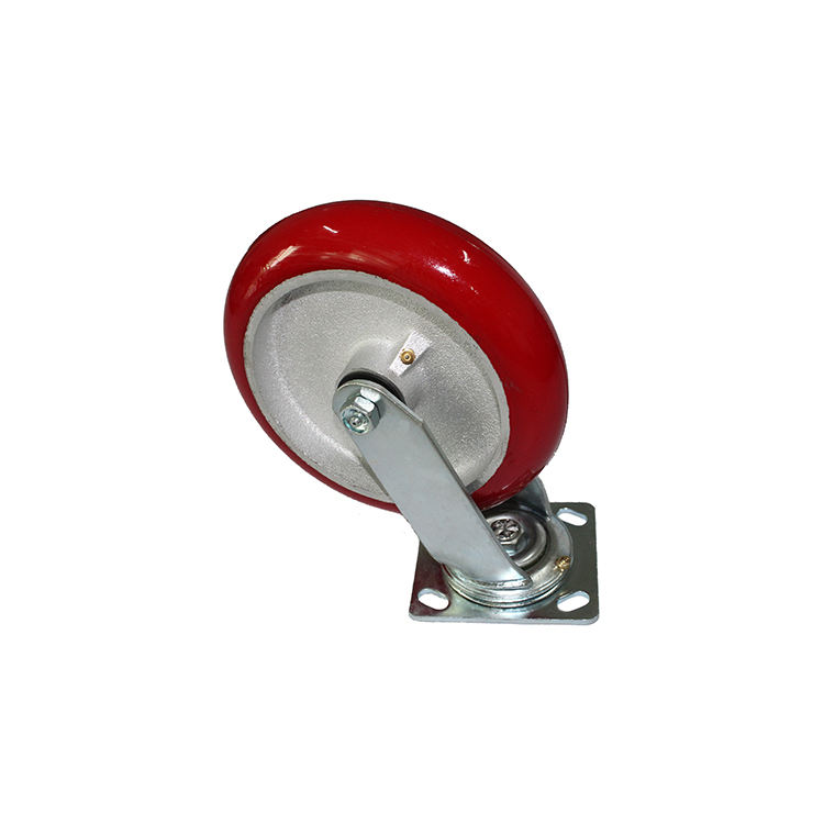 "Wholesale 8"" Red Polyurethane Casting Industrial Swivel Roller Caster Wheels"