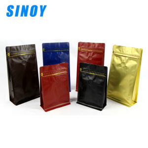 Eight side seal zipper top coffee pouch side gusset square bottom aluminum foil plastic bag with one way valve