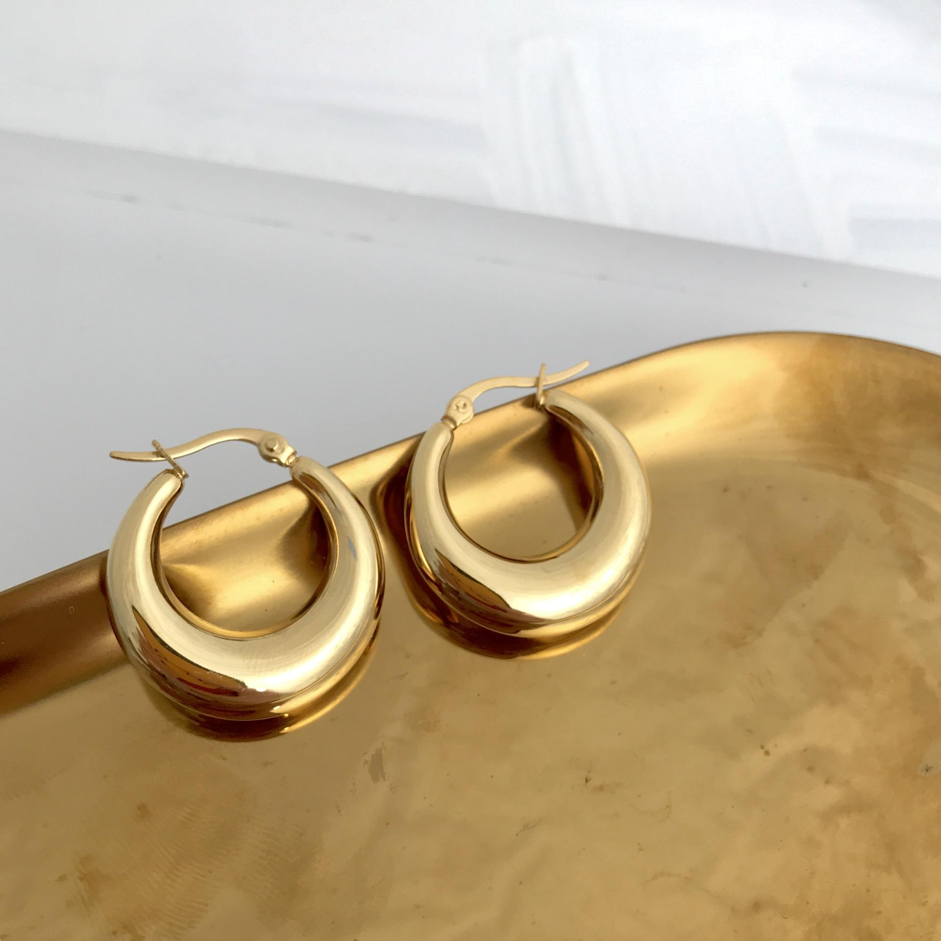 Small Steel Material Gold Plated Circle Hoop Earrings