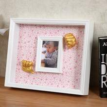 3D Baby Casting Kit with wood panting picture frame baby Foot and hand cast combinations with wood box