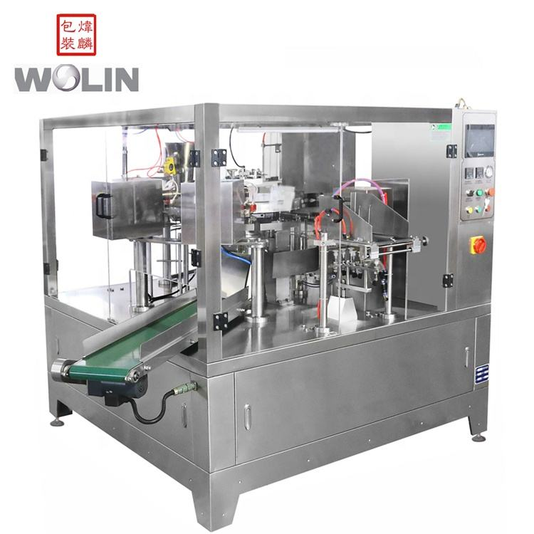 High speed 8 stations rotary pouch filling packing sealing machine for foods rice with premade bags