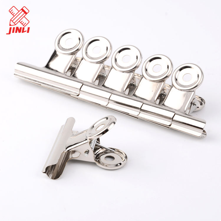 Wholesale cheap mini bulldog stainless steel silver binder round metal spring letter clips .