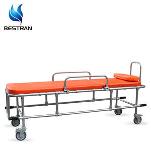 BT-TA010 Hospital Medical Mobile Yellow Ambulance Emergency Patient Stretcher Non-magnetic MRI Trolley Cart Wheels Price