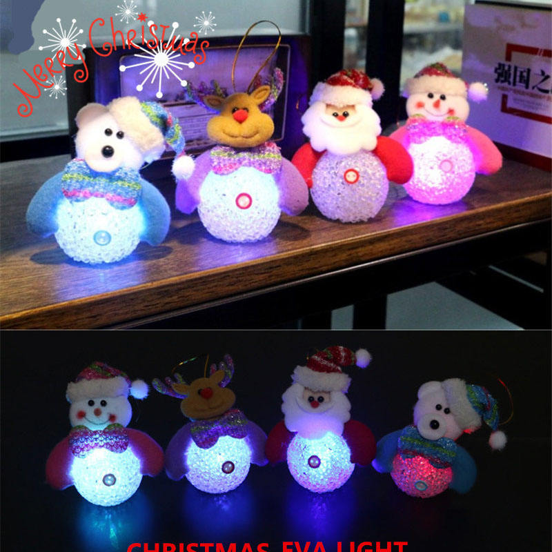 New Year Christmas Ornaments Decoration Home Accessories Glowing Snowman Nightlight Christmas Tree Hanging Decor