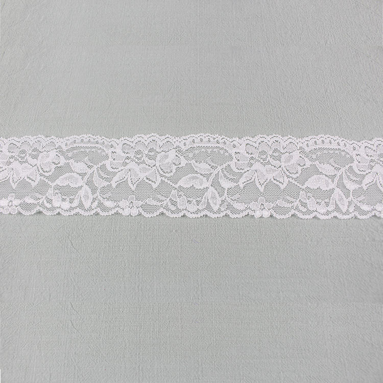 Cheerlife Sexy Knitted Spandex Nylon Diy Sewing Cloth Wide Stretch White Voile Elastic Scallop Lace Trim For Lingerie