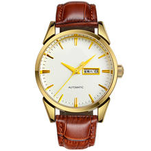 New Watch with Genuine Leather Strap Day Date Quartz Unisex Watch for Men and Women