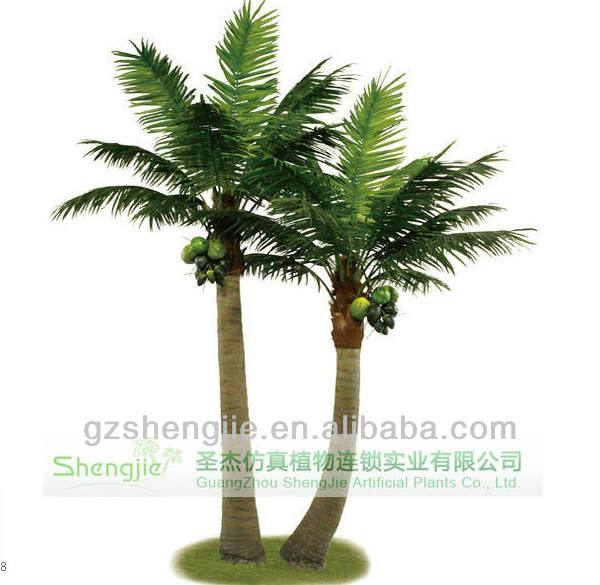 Big artificial coconut palm tree decoration and faux coconut tree
