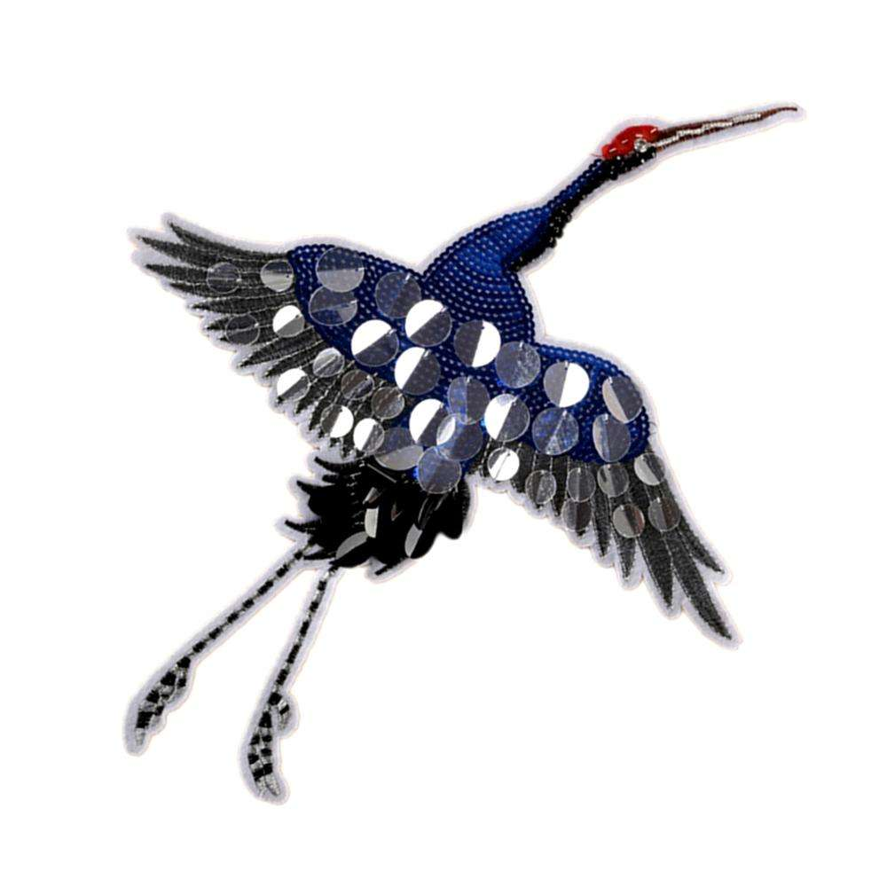39*29.5cm Sequins Red-Crowned Crane Embroidered Patches No Glue Cartoon Motif Applique Embroidery Garment Accessory PE089