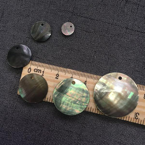 10-30 Mm Dibor Hitam Mother Of Mutiara Shell Dipoles Putaran Cakram Abalone Pearl Shell untuk Perhiasan