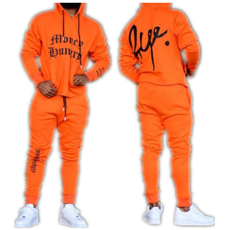Wholesale Custom Orange Printed Letter Hoodie Fashion Strap Sports Men Tracksuit