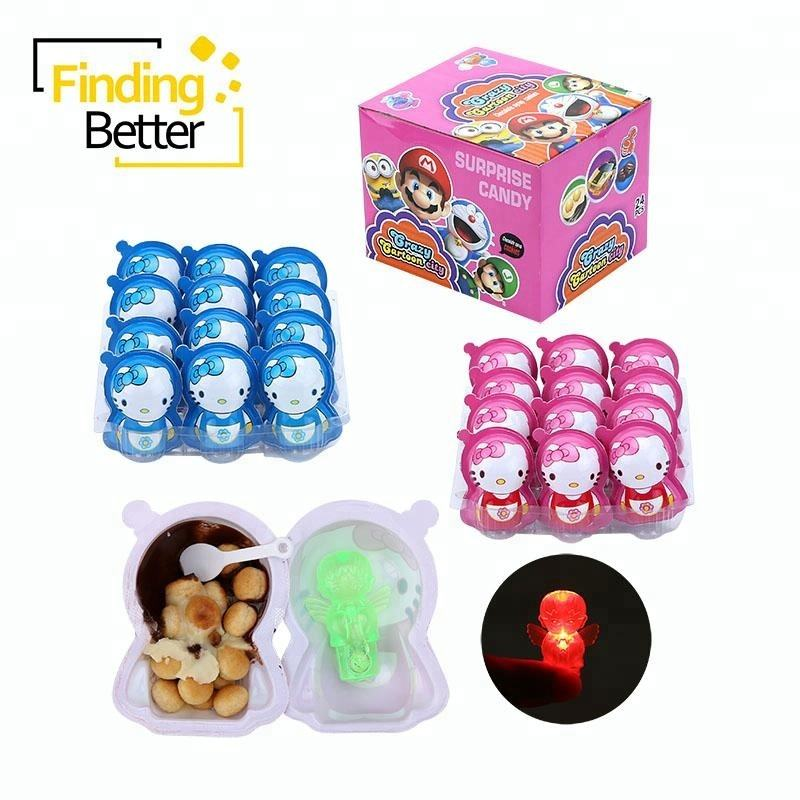 New Style Hello Kitty Shape Egg Toy Candy Surprise Chocolate Egg Surprise Candy Toy with Biscuits