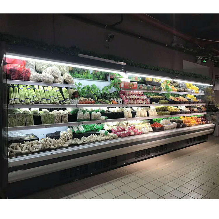 multideck open front vegetable display refrigerator for supermarket and convenience store