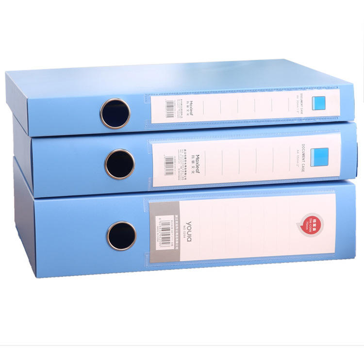 Rectangle blue PP file box A4 size data document storage case for hospital office school