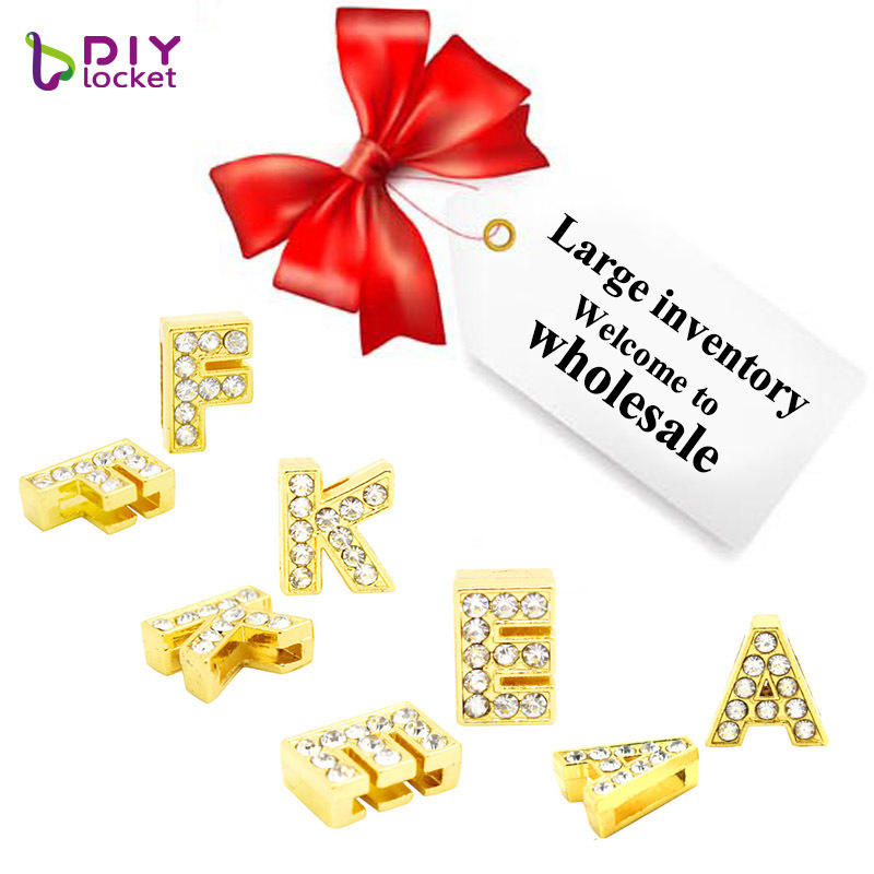Wholesale 1300pcs Mix Rhinestone Gold Slide Letter For 8mm Charms Leather Bracelet, Customized Personalized Slide Charms
