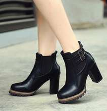 Korea autumn new europen british style ancient ways thick highwomen boots with elastic belt buckle female short boot