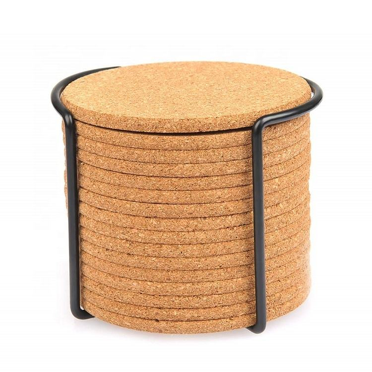 16 pack Natural Round Cork Coasters with Metal Holder Storage Caddy