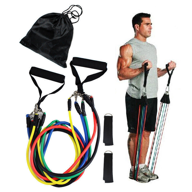 11 Stks/set Fitnessapparatuur Pilates Buizen, Elastische Bands Gym Workout Weerstand Bands