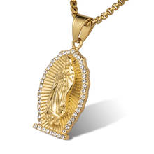 Marlary Custom CZ Stainless Steel Gold Plated Religious Catholic Pendants Necklace For Women