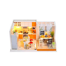 Birthday gift  scale dollhouse furniture assembled dolls house wooden miniature
