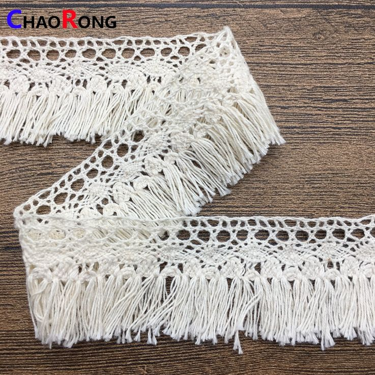 CRMT0409 4CM 2018 fancy tassel lace trim for sock decoration edging cotton lace