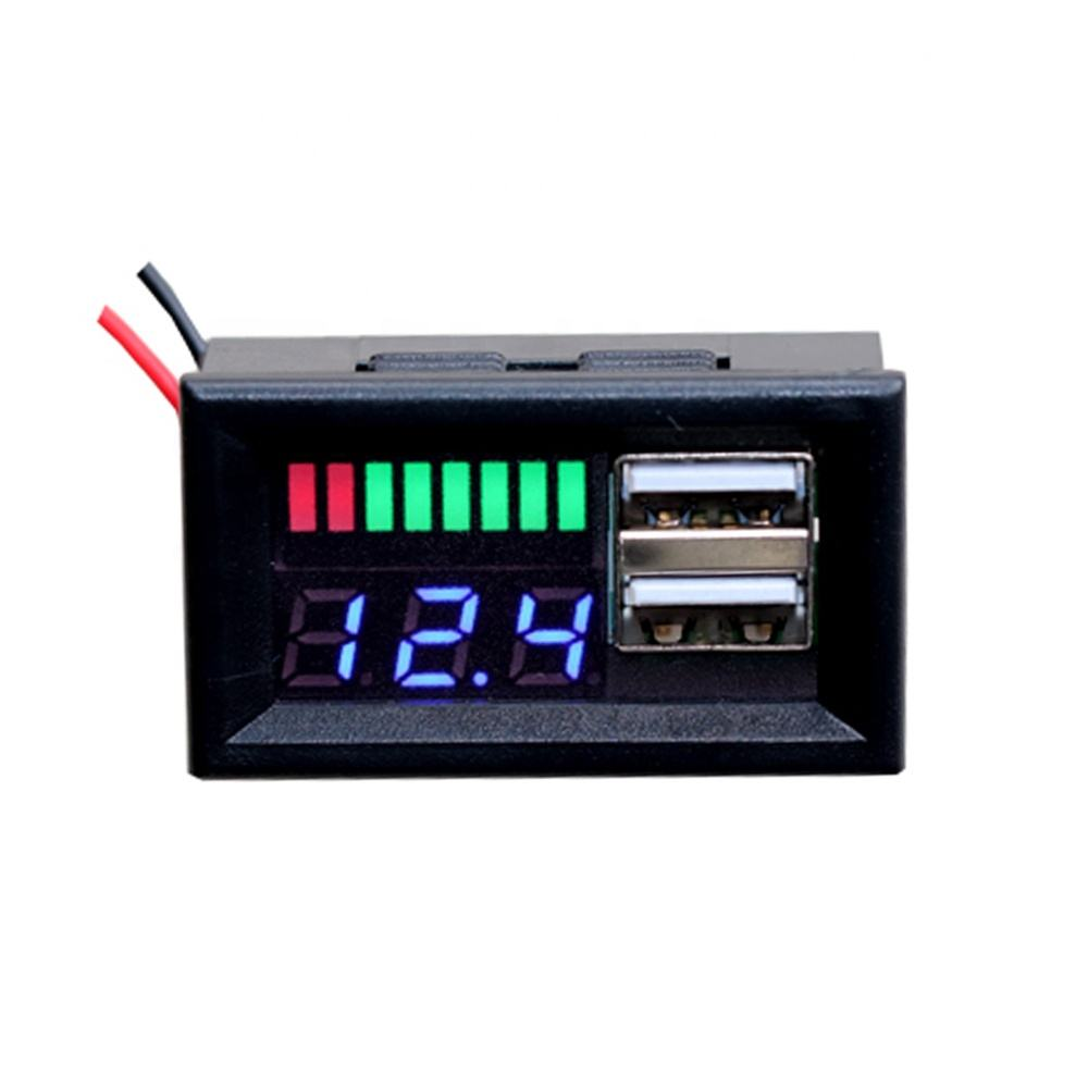 12V Car Power Voltage Displayer LED Lead Acid Battery Capacity Indicator Voltage Meter Dual USB Charger 5V 2A For Mobile Power